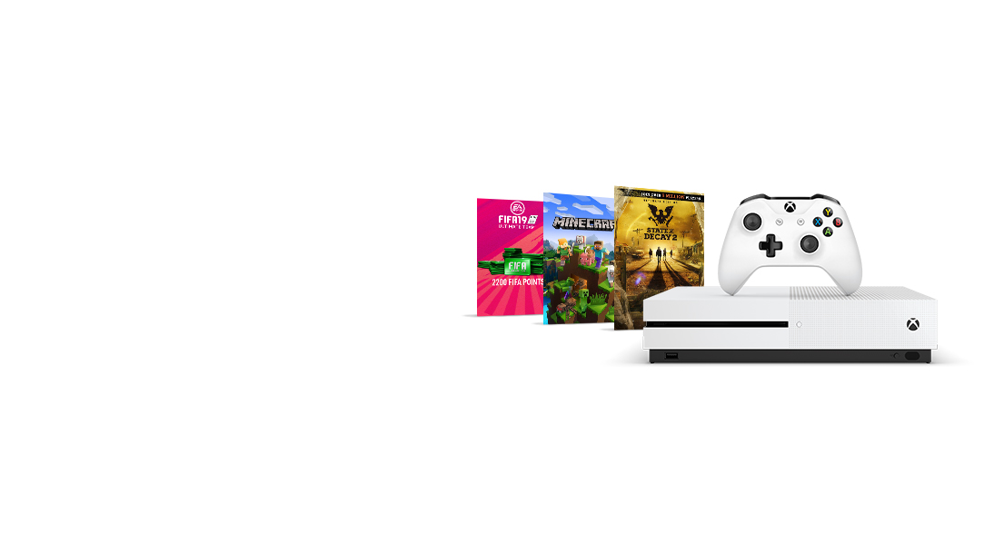 An Xbox One S in front of packshots of 2200 FIFA 19 points, Minecraft, and State of Decay 2