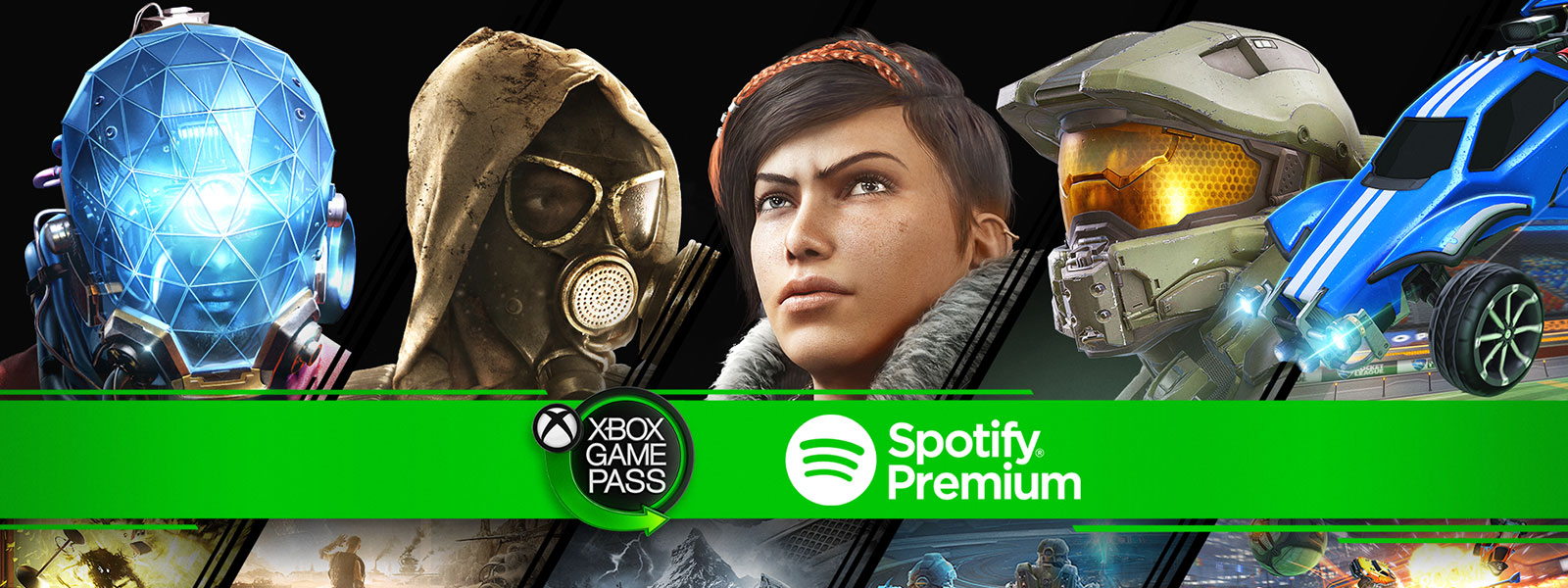 Xbox Game Pass and Spotify logos against a collage of characters and images from Xbox One games. Prey, Metro: Last Light Redux, Gears 5, Halo Infinite, and Rocket League.