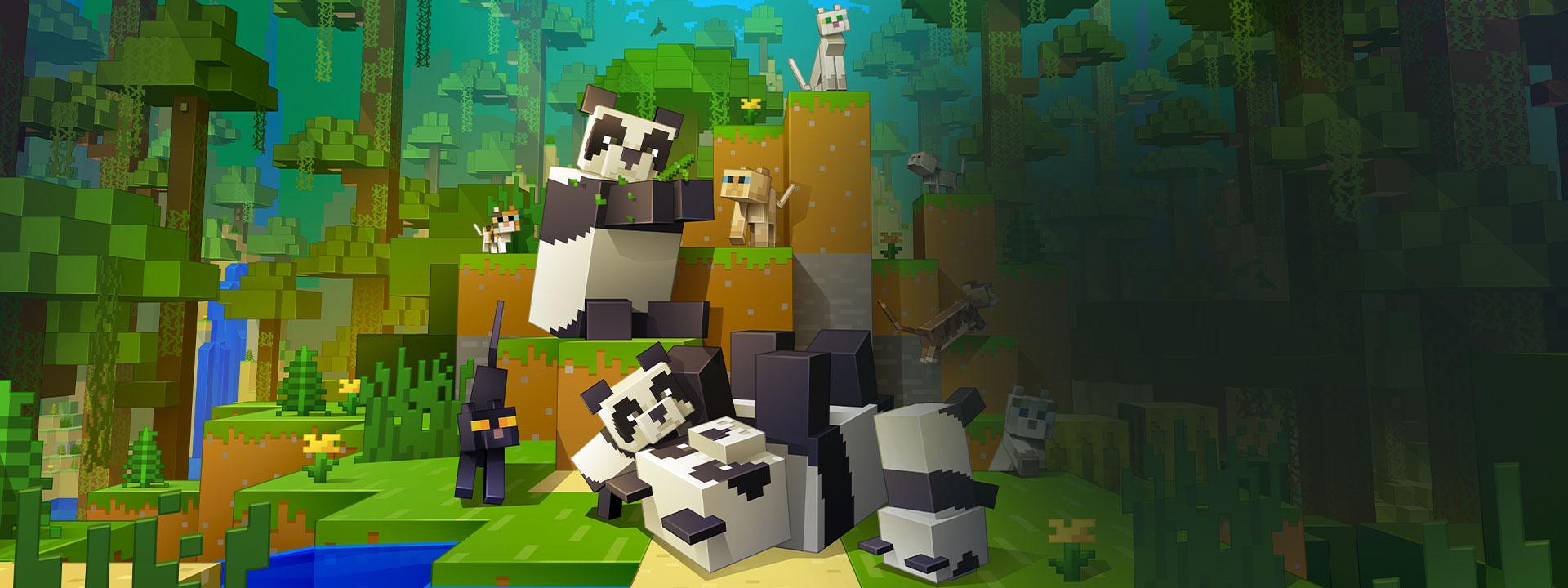 Image de chats et de pandas Minecraft jouant ensemble
