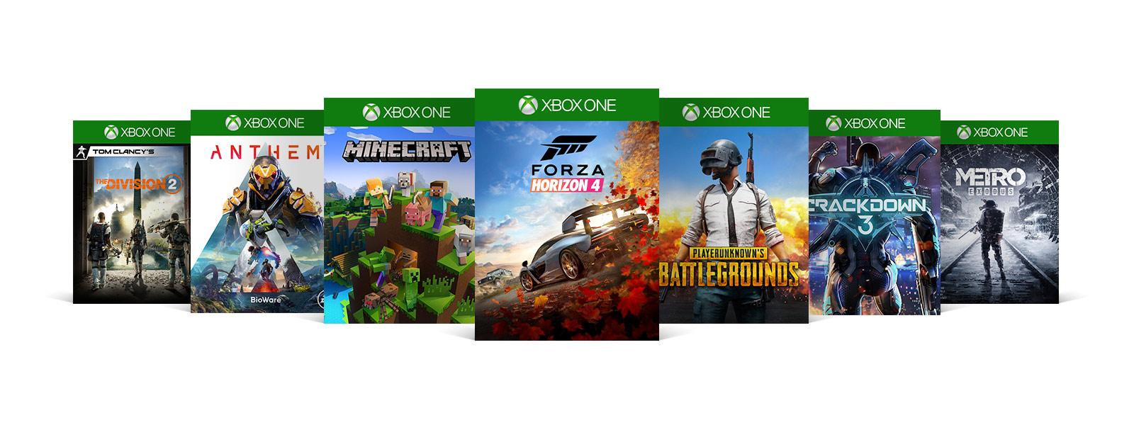 The Division 2, Anthem, Minecraft, Forza Horizon 4, PlayerUnknown Battlegrounds, Crackdown 3 and Mertro Exodus box shots