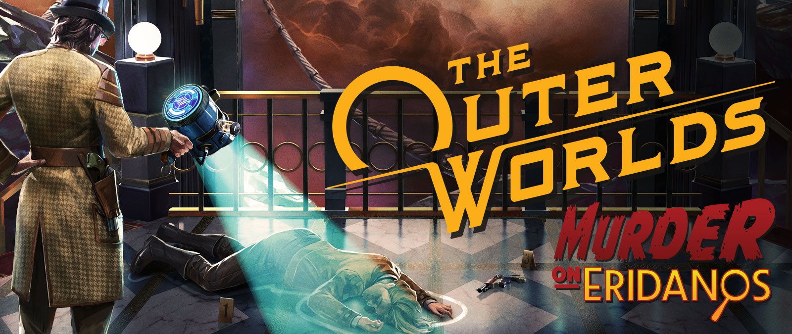 The Outer Worlds, Murder on Eridanos, A detective investigates a dead body on the floor next to a gun