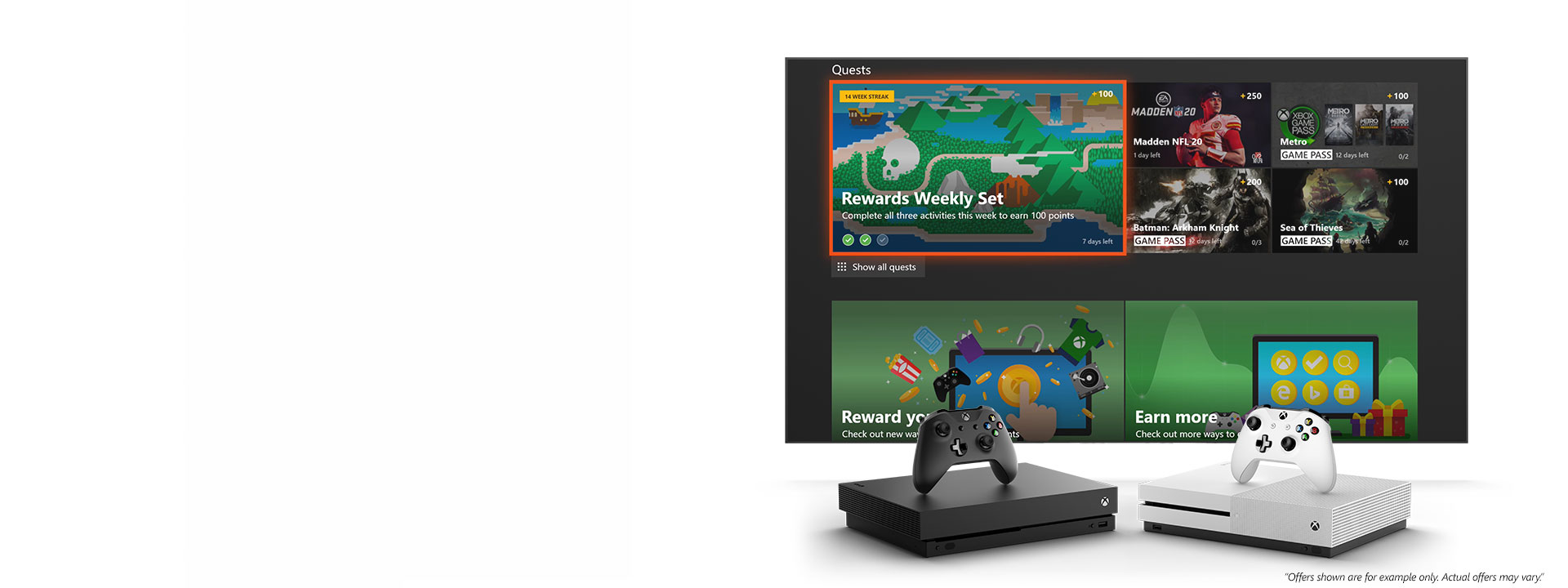 An Xbox One X and Xbox One S console in front of a screen displaying the Microsoft Rewards app with rewards. A disclaimer reads: Offers shown are for example only. Actual offers may vary.