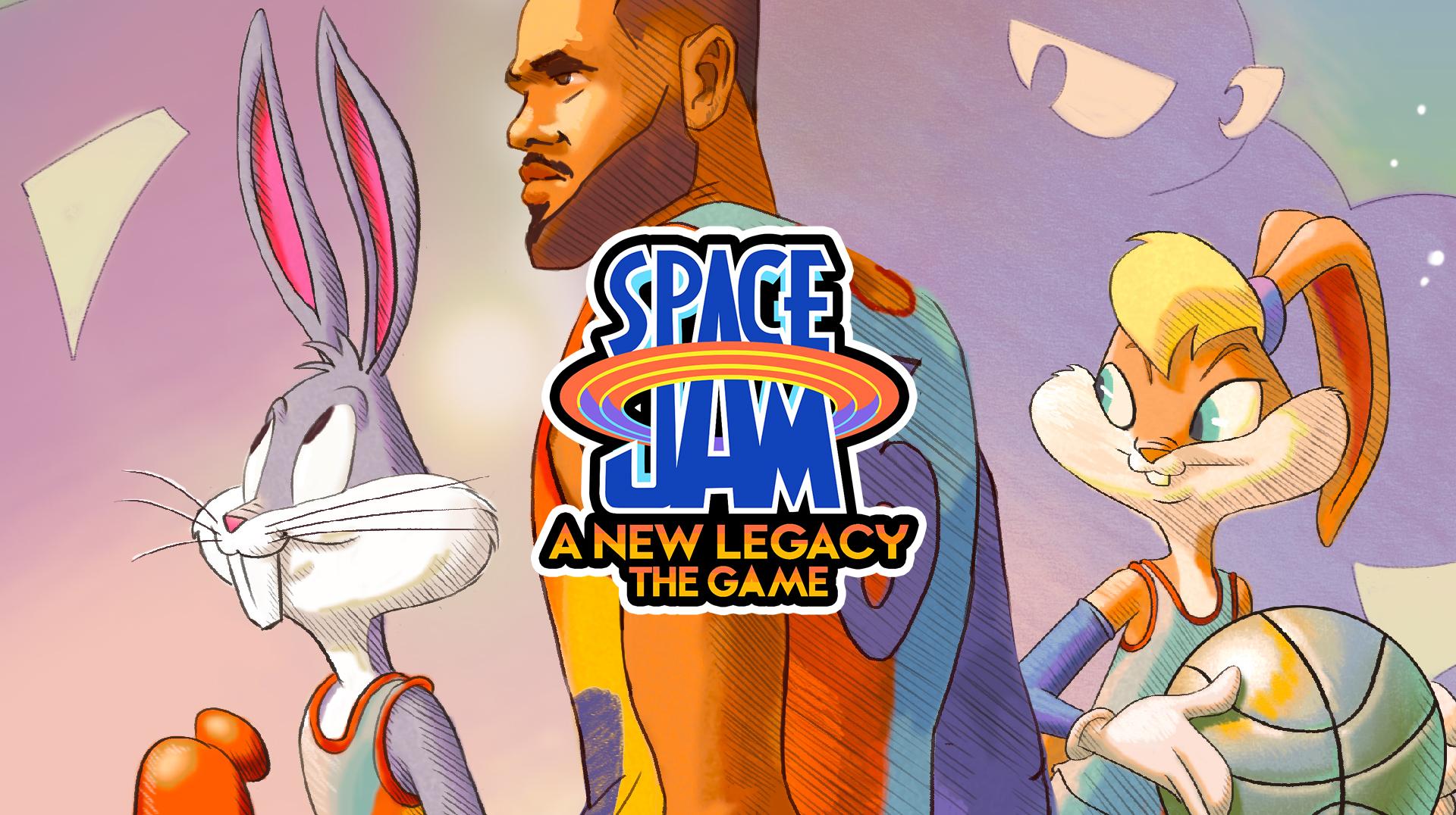 Verpixelte Lola Bunny, LeBron James und Bugs Bunny mit dem Logo für Space Jam A New Legend – The Game