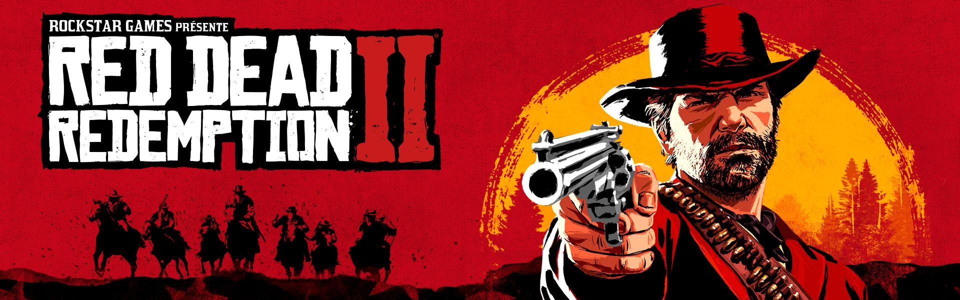 Rockstar Games présente Red Dead Redemption2, dessin d'Arthur Morgan pointant un revolver avec le crépuscule en arrière-plan