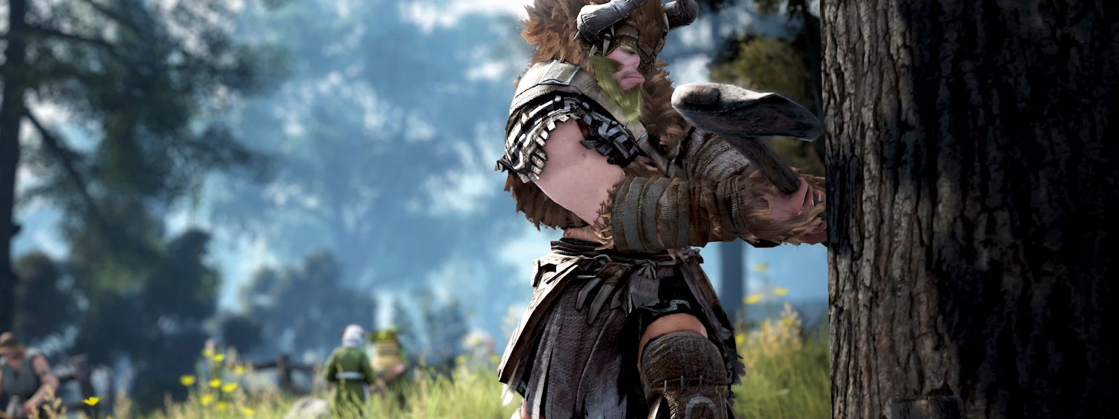 front view of black desert character swinging axe to chop down tree