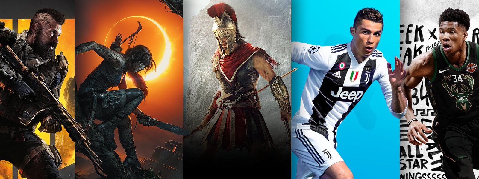 Call of Duty Black Ops 4, Shadow of the Tomb Raider, Assassins Creed Odyssey, FIFA 18 and NBA 2K19 game art