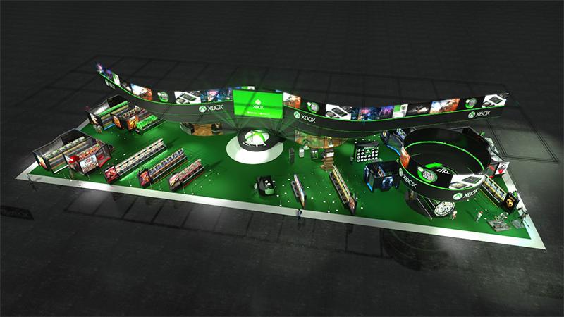Ein Bild, das den Xbox-Stand auf der gamescom 2019 zeigt
