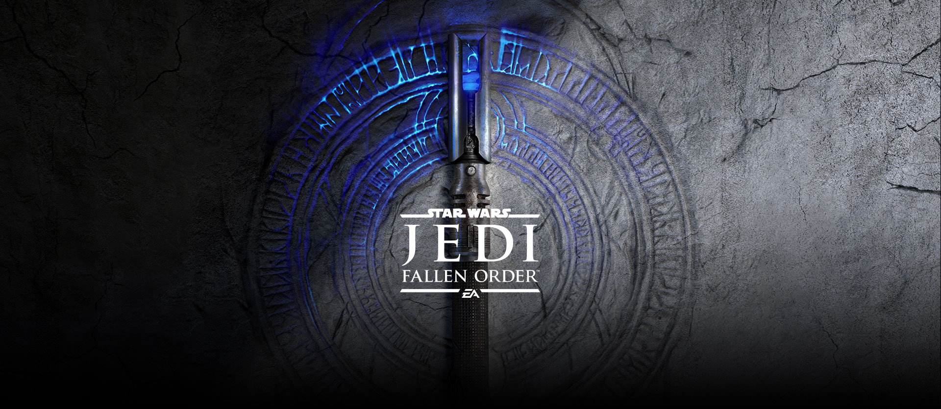 Star Wars Jedi: Fallen Order™, A broken lightsaber hilt on top of glowing symbols