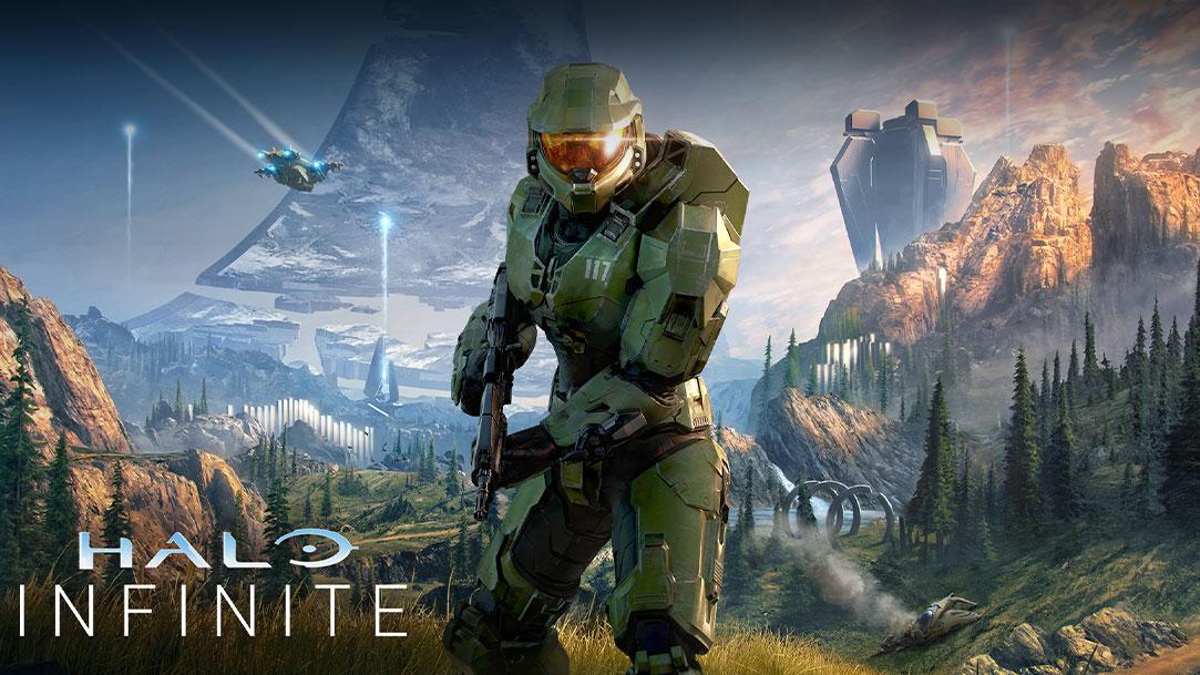 Halo Infinite, Animazione con Master Chief in posizione frontale in una valle lussureggiante e un anello di Halo rotto alle sue spalle