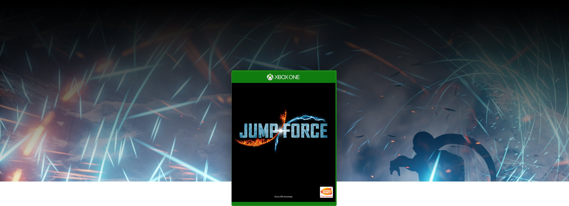 Jump Force box shot, blue sparks with a shadowy figure in the background