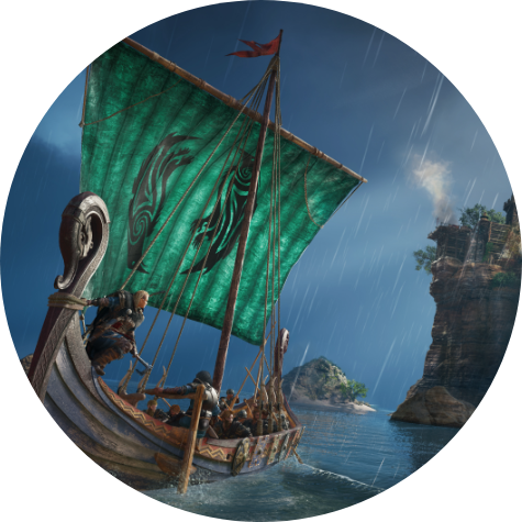 Assassin's Creed Valhalla. A Viking ship sails on the sea.