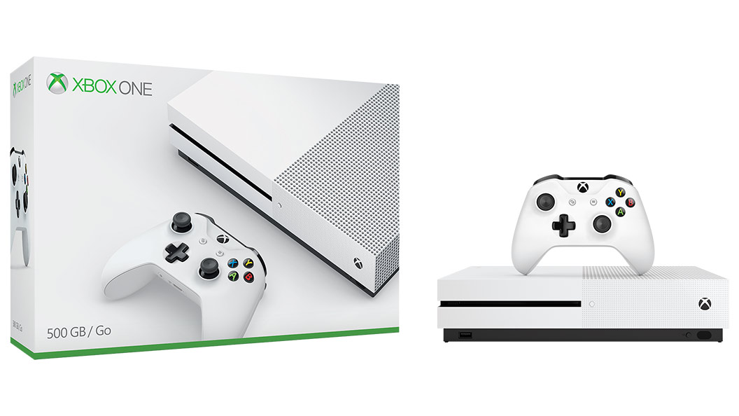 Xbox One S boxshot with wireless controller and console