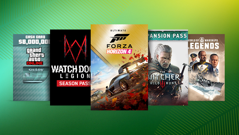 A collection of games that are part of the Spring Add-on Sale, including Forza Horizon 4 Ultimate Add-On, The Witcher 3: Wild Hunt - Expansion Pass, and Watch Dogs Legion Season Pass.
