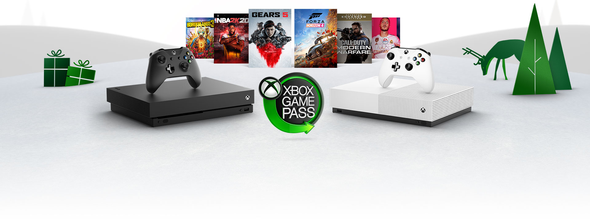 Xbox consoles, hot new games, and the Xbox Game Pass logo on snowy hills with trees and woodland creatures