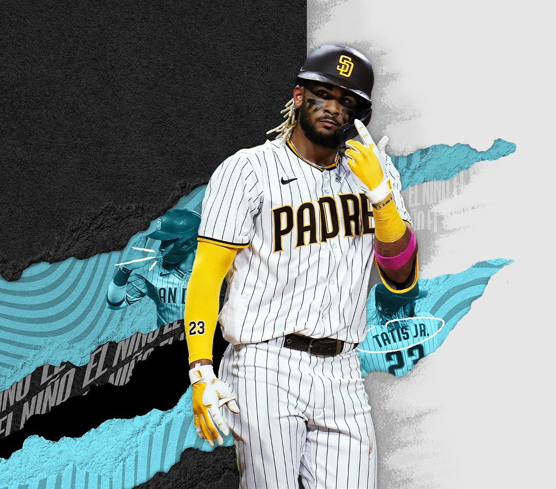 MLB The Show 21, Fernando Tatis Jr. i Padres står riktad framåt med upplyft hand