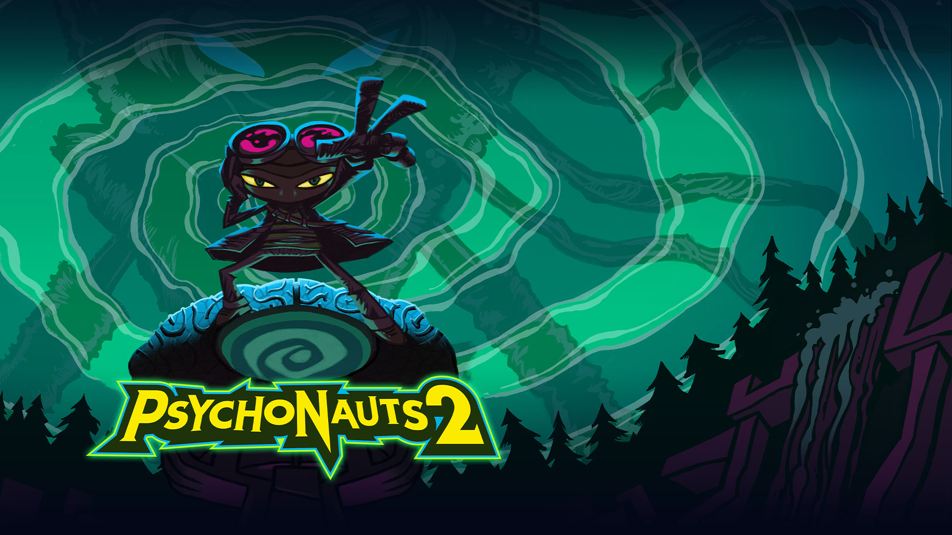 Psychonauts 2, character standing with their hand out with a dark forest and a large character stands behind them with green spiral sky