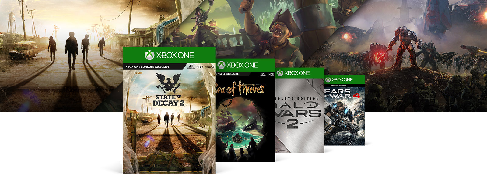 State of Decay 2, Sea of Thieves, Halo Wars 2 and Gears of War 4 boxshots in front of various Microsoft Studio Games graphics