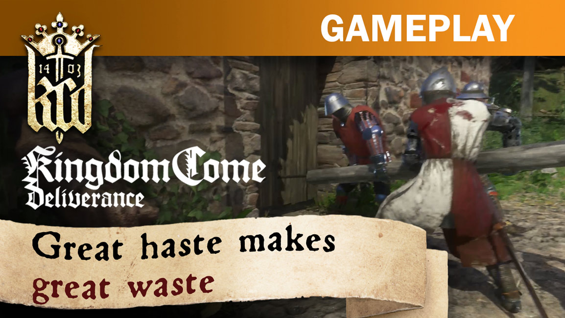 Kingdom Come Deliverance gameplay, great haste makes great waste, (Soldiers use a battering ram on a door)