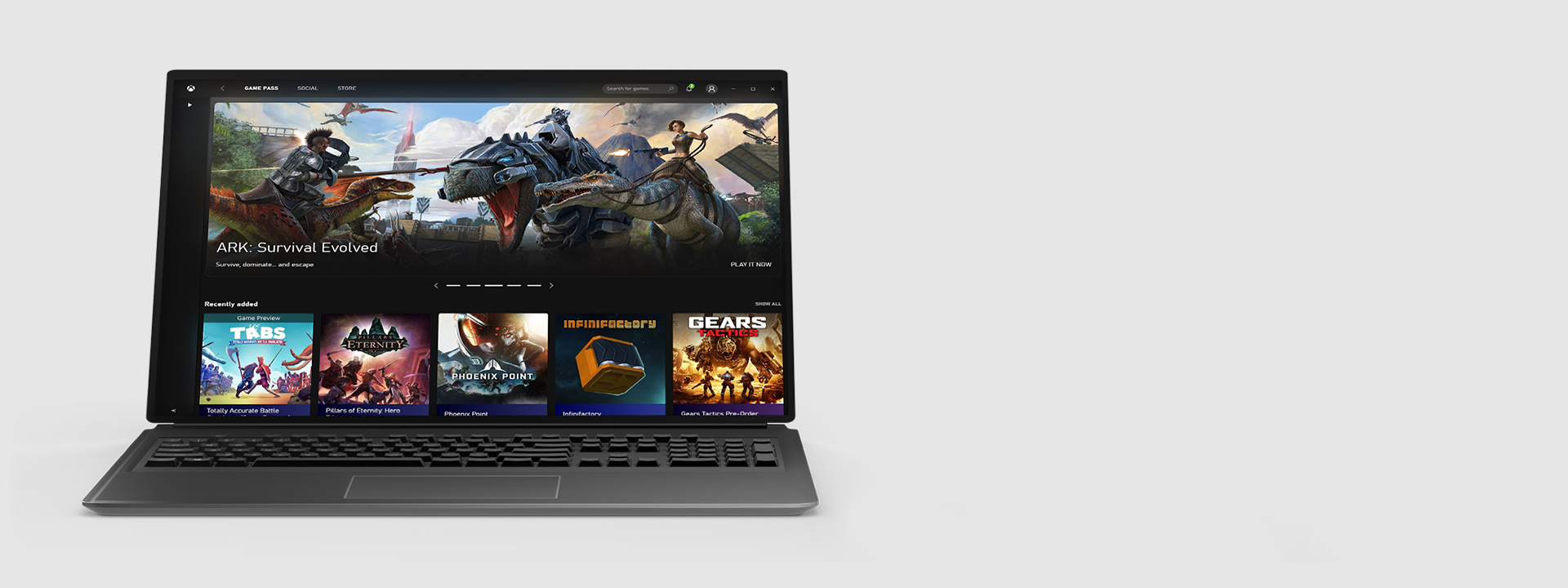 Xbox Game Pass PC app home screen on a laptop screen