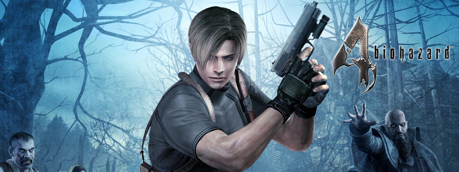バイオハザード 4、暗い森でゾンビに囲まれて拳銃を持つキャラクター