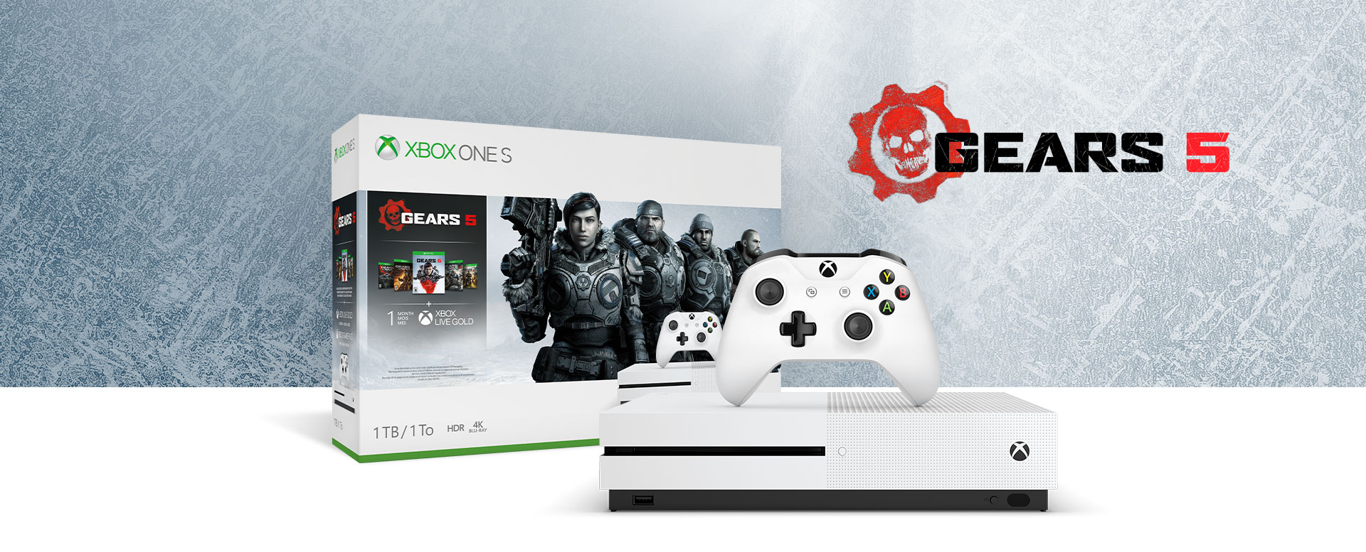 Xbox One S console in front of a hardware bundle box featuring Gears 5 art
