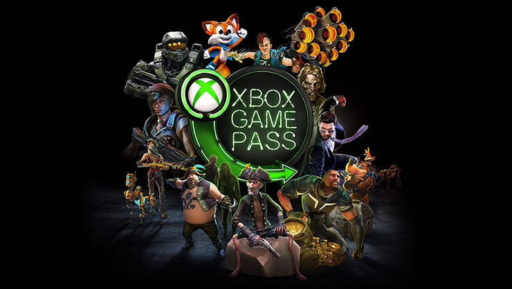 Collage of Xbox game graphics around Xbox Game Pass logo