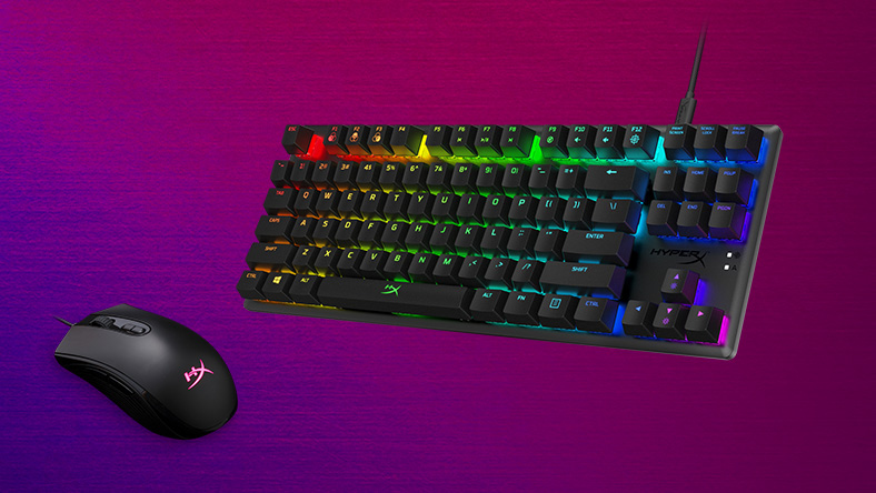 PC gaming accessories, including a keyboard and gaming mouse