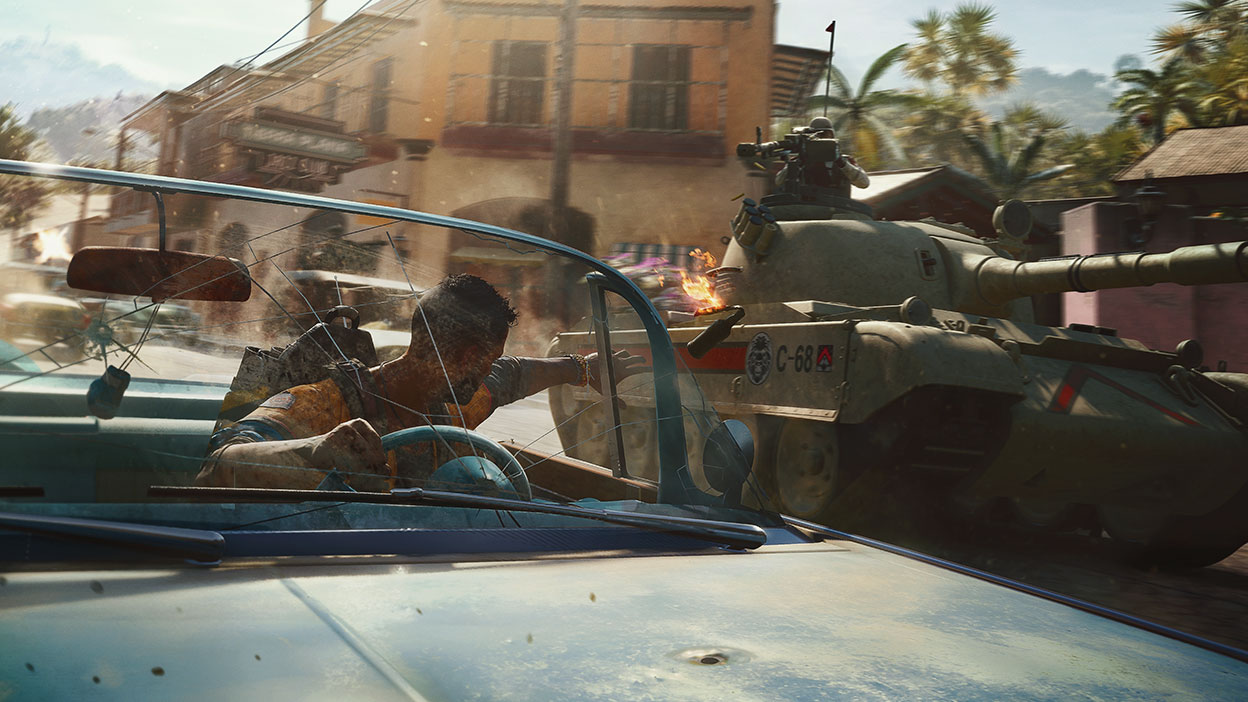 A driver throws an explosive at a tank in Far Cry 6.