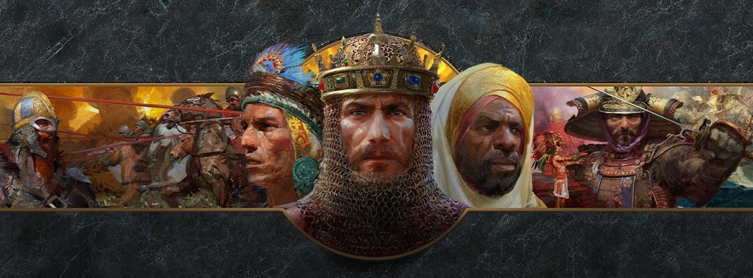 Collage de guerriers de différentes nations devant un arrière-plan de marbre