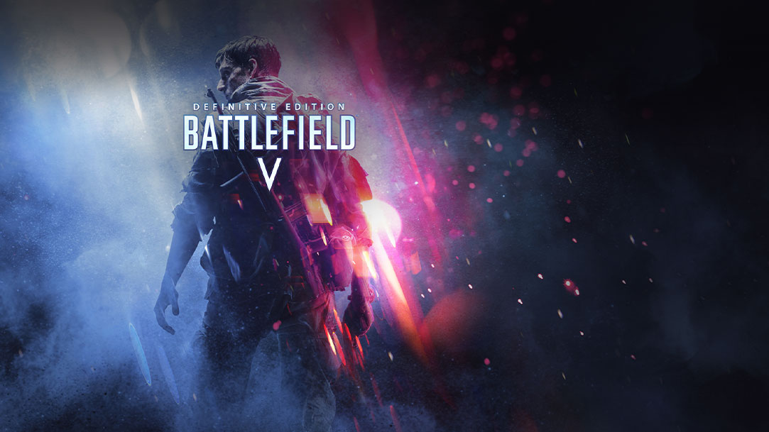 Definitive Edition Battlefield V, A soldier with a rifle on his back stands in a cloud of smoke and sparks.