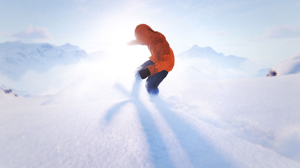 Sun shines on a snowboarder kicking up a cloud of powder.