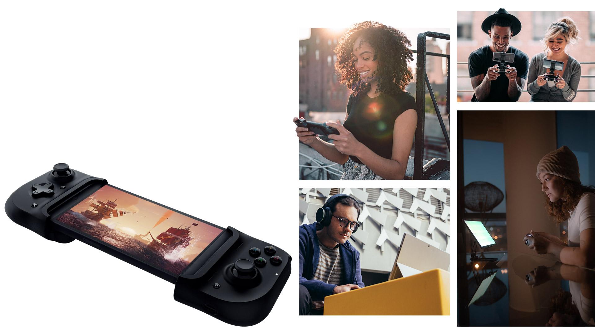 Menschen spielen auf Geräten wie einem Surface Laptop, einem Tablet und verschiedenen Handys.