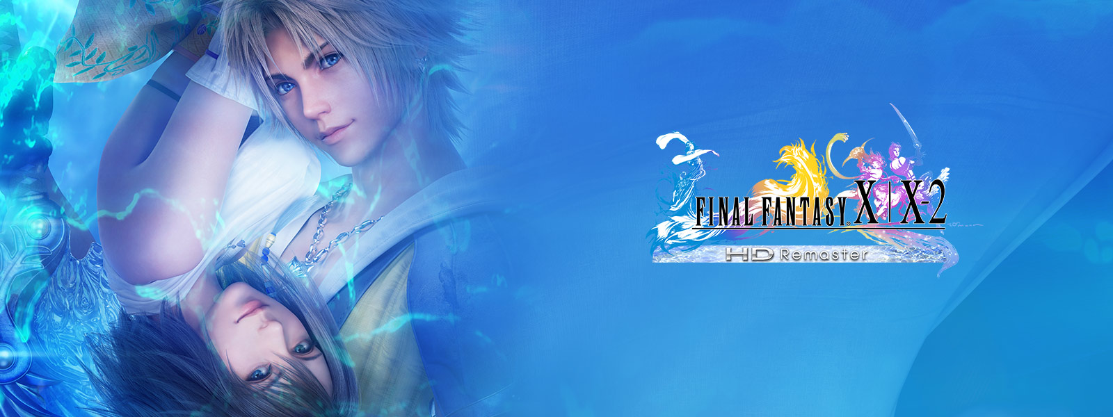 FINAL FANTASY X character Tidus above an upside-down image of Yuna