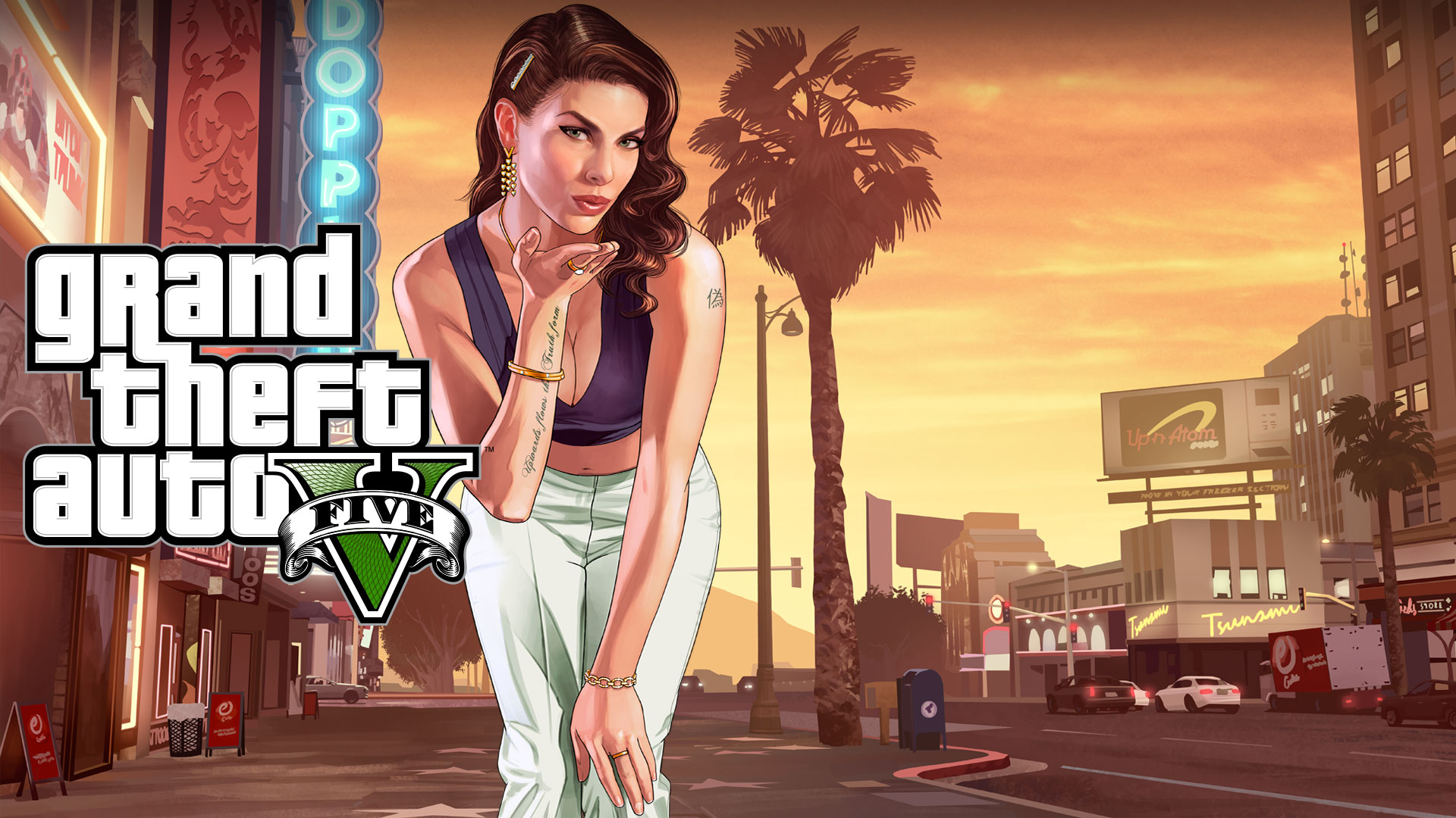 Grand Theft Auto V, una mujer se inclina hacia adelante y tira un beso con la puesta de sol de Los Santos detrás de ella.