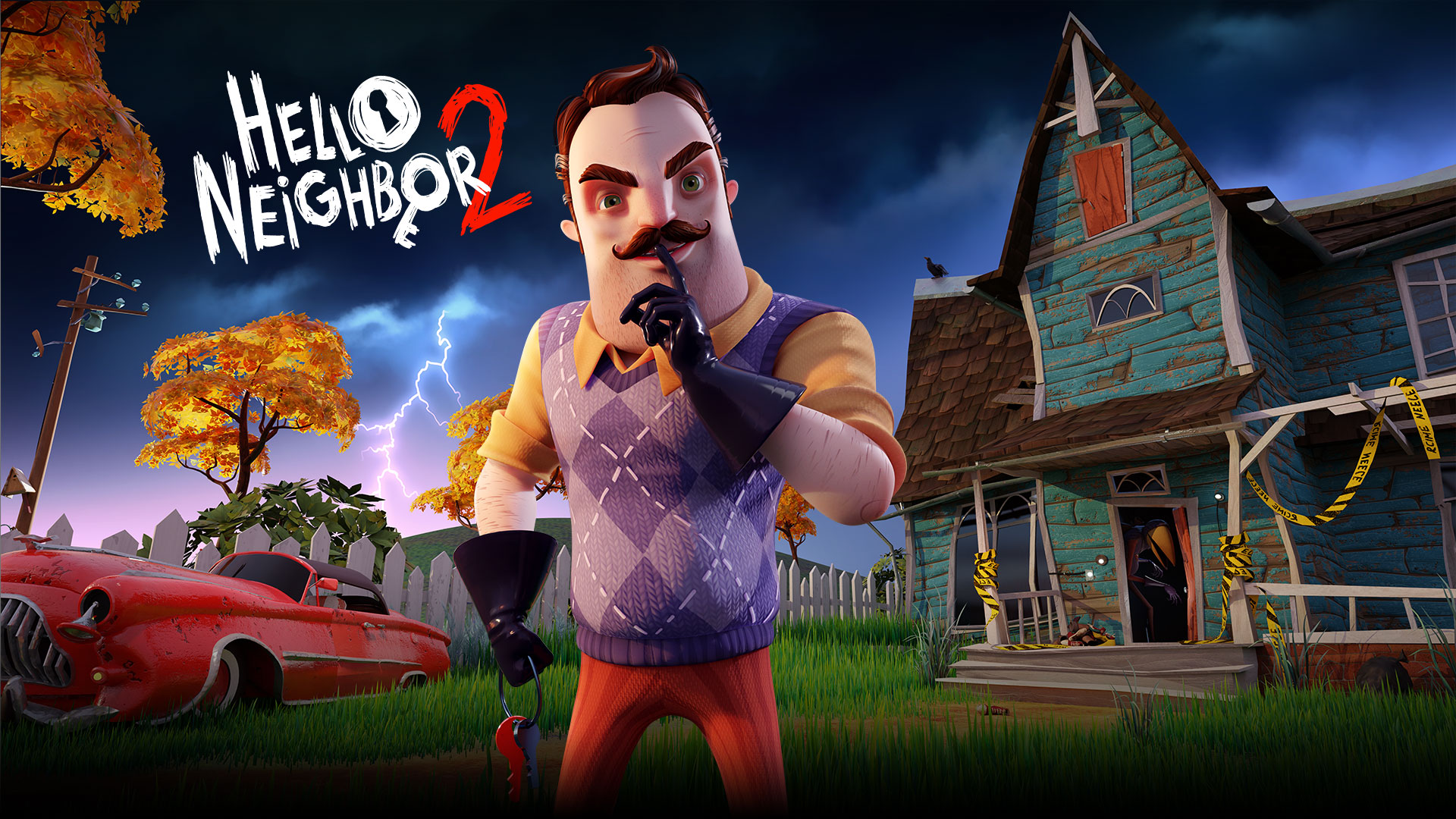 Hello Neighbor 2, Mr Peterson holds a finger up to his mouth in front of a shabby house.