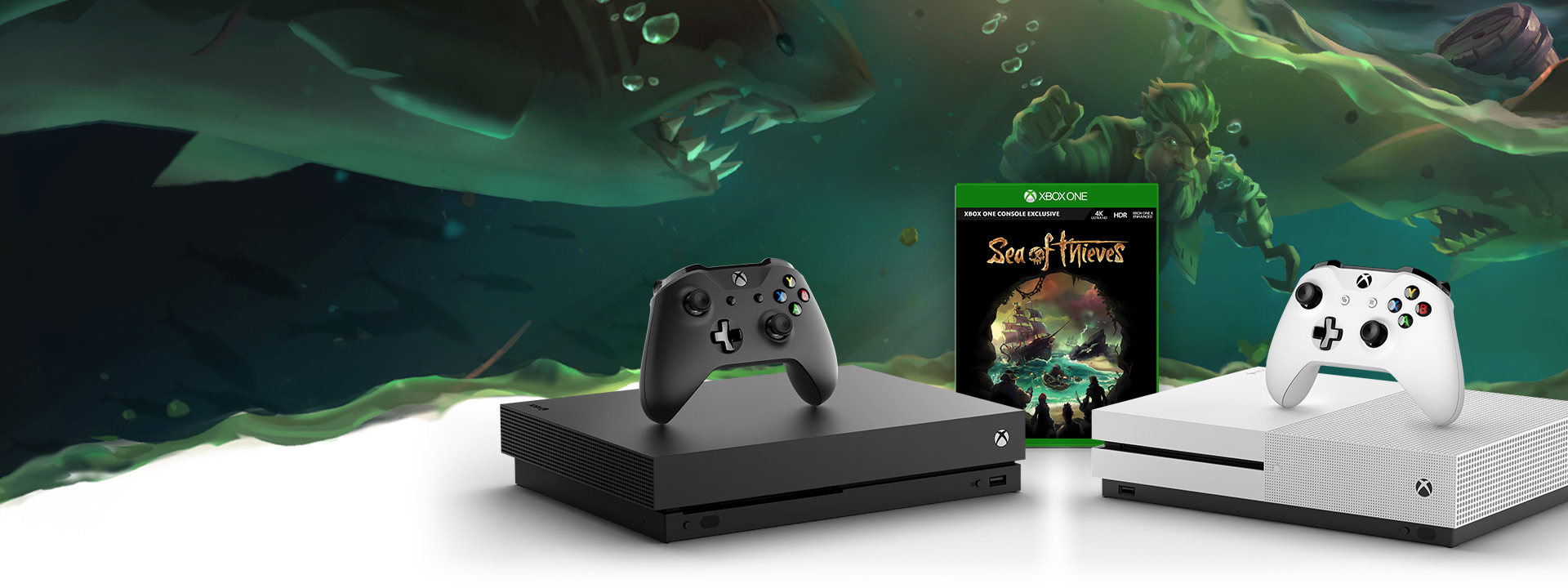front view of Xbox One X and Xbox One S console with sea of thieves boxshot in between and sea of thieves scene in background