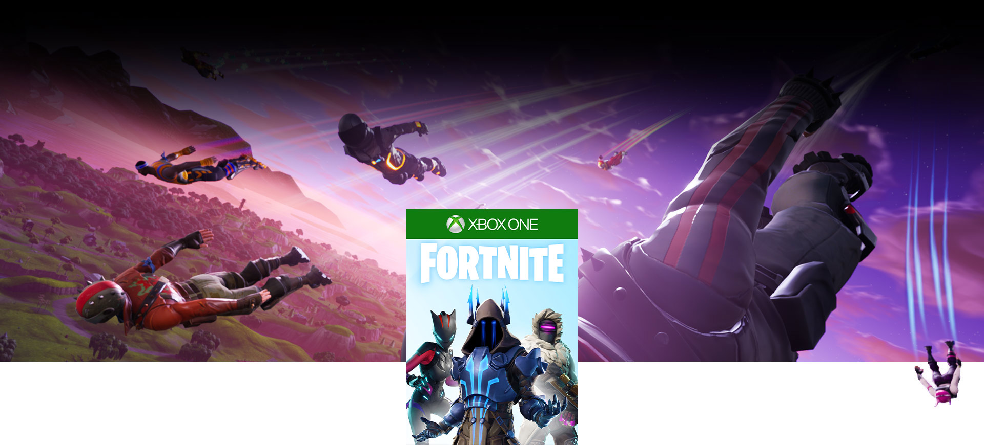 Fortnite-coverbilde, Fortnite-karakterer som skydiver