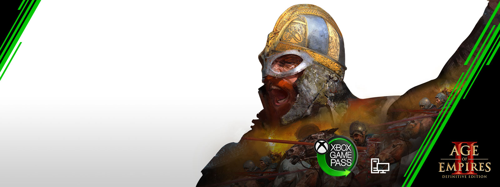 Logo de Xbox Game Pass, Age of Empires II: Definitive Edition, Illustration graphique d'un soldat en armure de métal hurlant au milieu d'une bataille