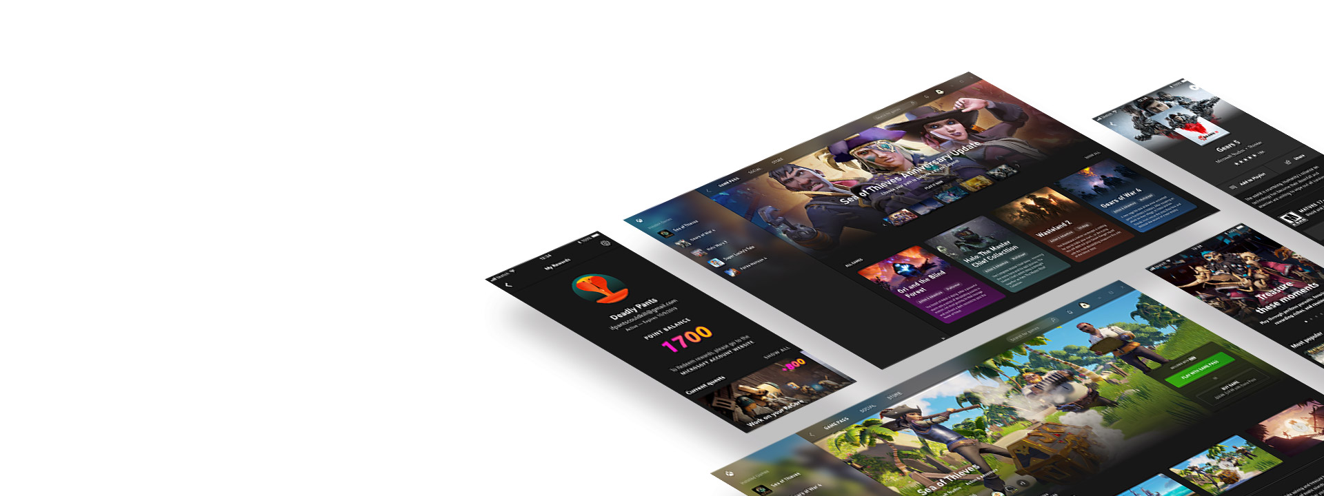 Écrans mobiles flottant et affichant l'application Xbox Game Pass