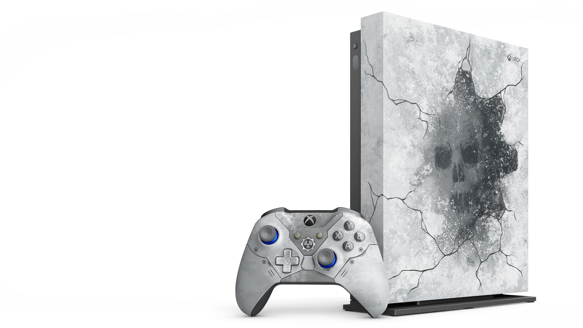 GXbox One X Gears 5 Limited Edition console on a vertical stand with the Xbox Wireless Kate Diaz Limited Edition controller
