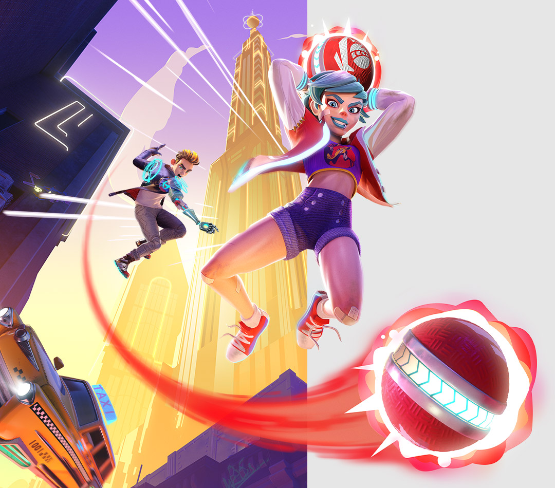 Knockout City, characters jump through a futuristic city in an epic dodgeball tournament
