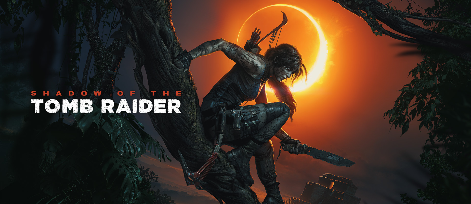 Shadow of the Tomb Raider, Lara Croft sits on a tree branch while holding a knife with an Eclipse in the background