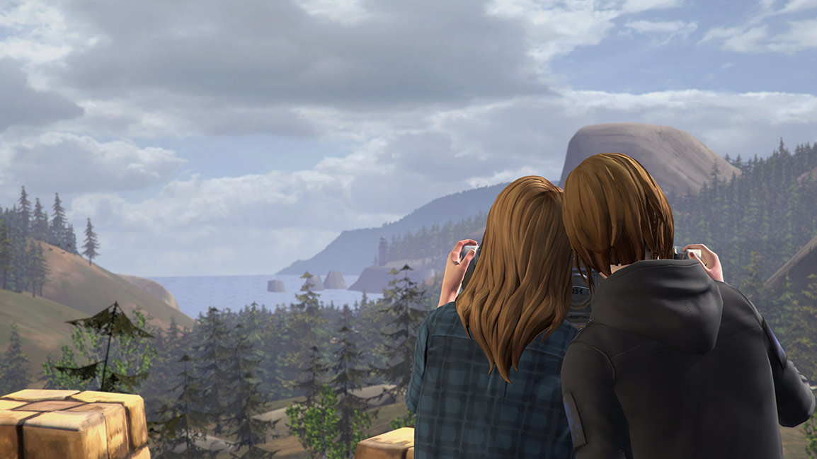 Rachel and Chloe look over at Arcadia Bay together