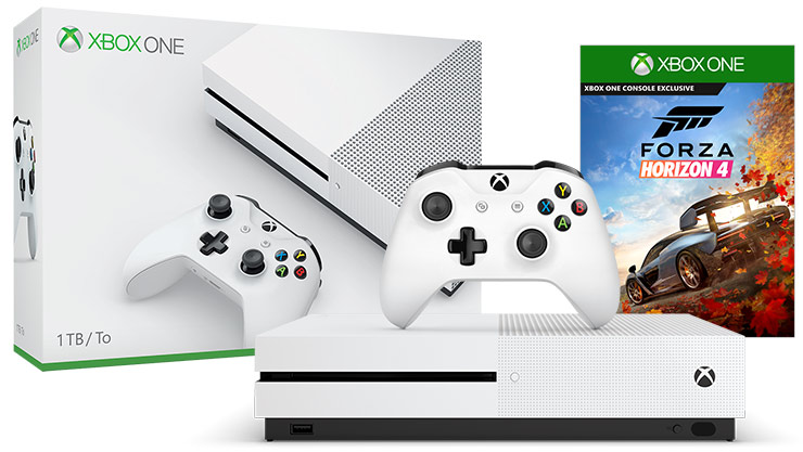 Front view of Xbox One S Forza Horizon 4 Bundle 1 terabyte