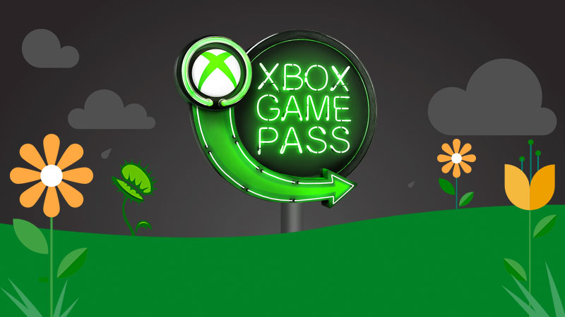 The Xbox Game Pass neon sign logo pictured in a spring scene with rain clouds, flowers, and a snapping venus fly trap