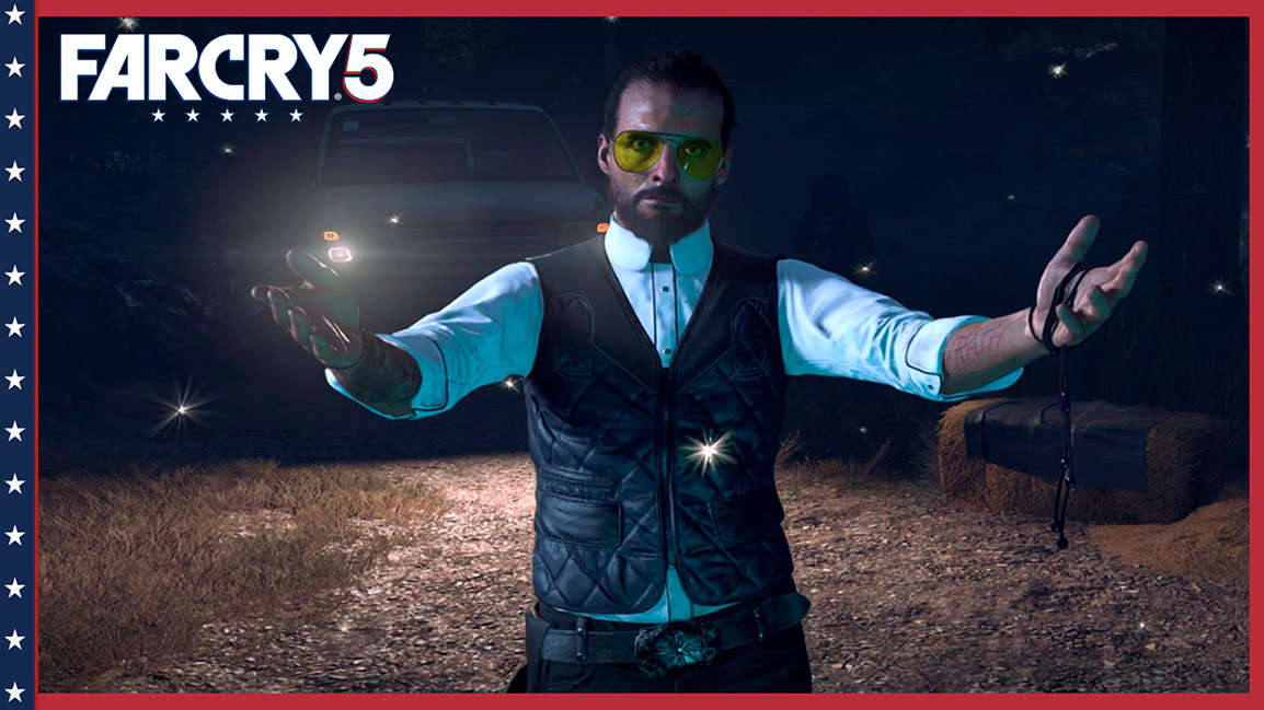 Far Cry 5, Front view of Father Joseph standing in front of a truck with open arms