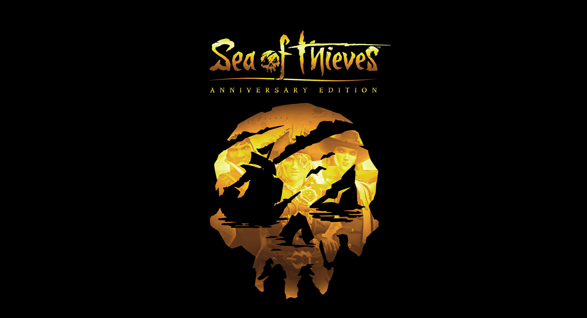 Sea of Thieves Anniversary logo on black background with skull cutout