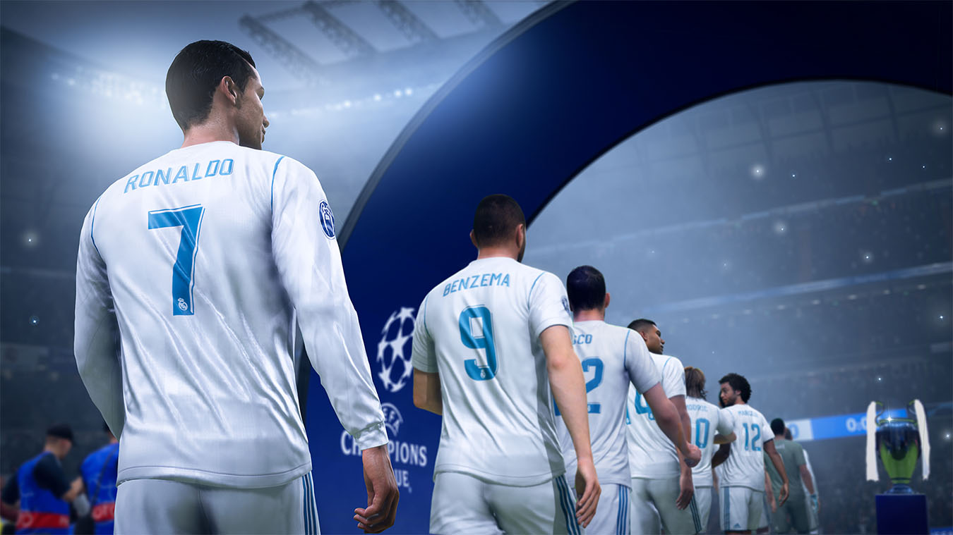 real madrid walking in a line onto the field for the champions league final