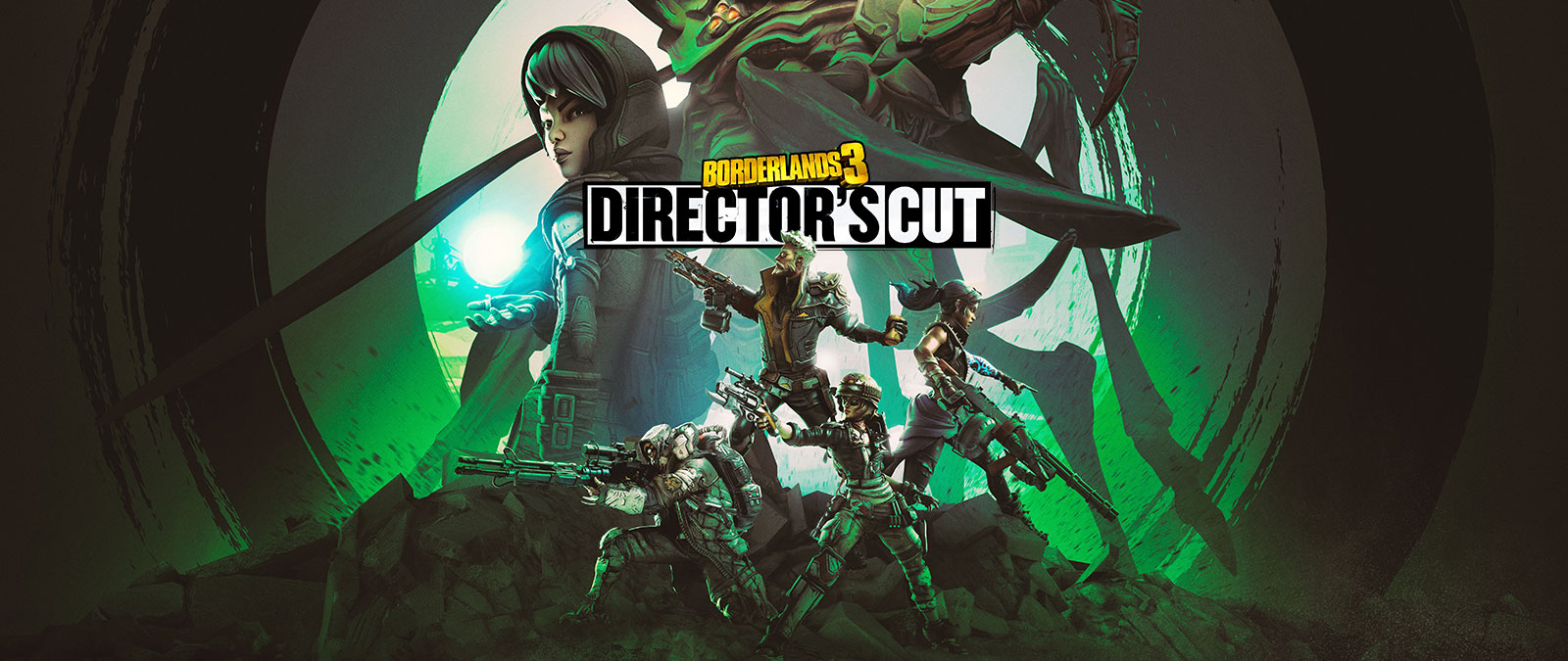 Borderlands 3, Director's Cut. Four characters with weapons on a hill with two larger characters in the background