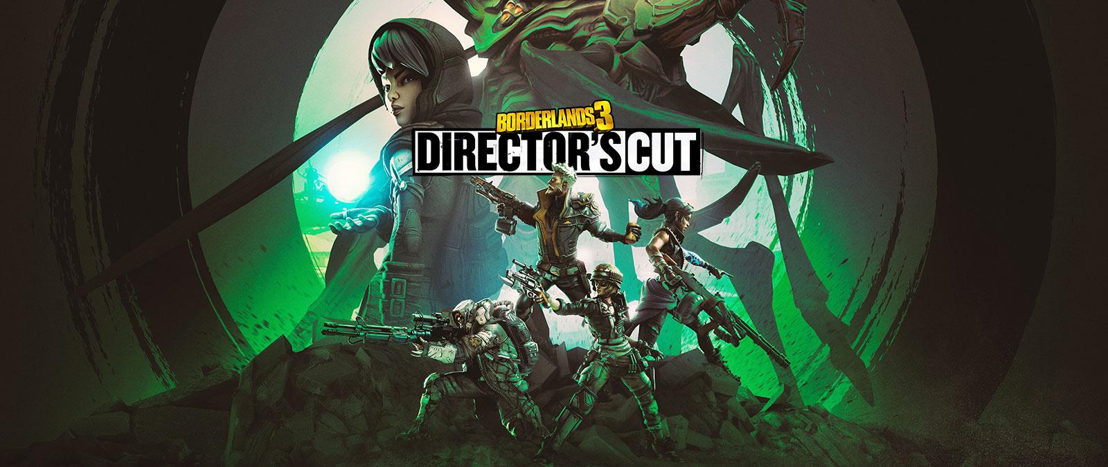 Borderlands 3, Director's Cut. Cuatro personajes con armas en una colina con dos personajes más grandes en el fondo